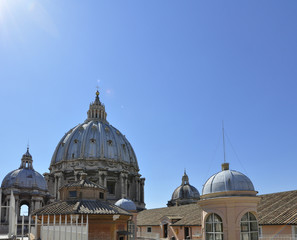 Panorama View of St. Peter's Basilica from St. Angel's castle, Rome Italy