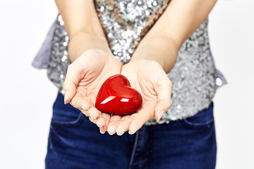 woman hands giving heart love and sharing concept