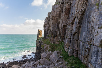 View from Saint Govan's chapel towards Saint Govan's Head, near Bosherston, Pembrokeshire, Wales, UK