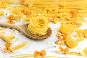 Pappardelle, penne, fusilli, and farfalle, and spaghetti pasta