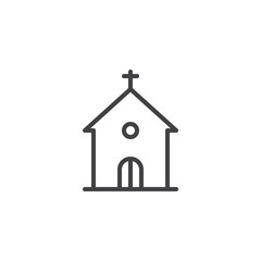 Church building line icon, outline vector sign, linear style pictogram isolated on white. Religion symbol, logo illustration. Editable stroke