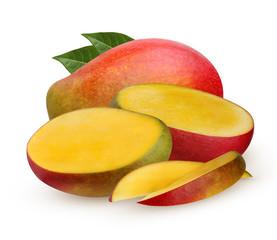 Mango whole and half isolated on white background.
