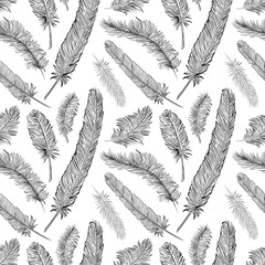Black and white feathers vector seamless pattern