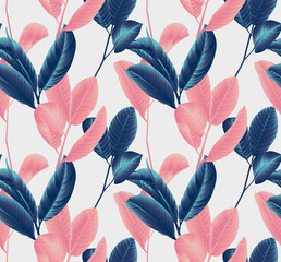 Seamless pattern, hand drawn blue and pink guava leaf on sprig on grey background