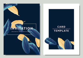 Hand drawn Tropical golden and blue guava leaves, invitation card template design, dark blue theme