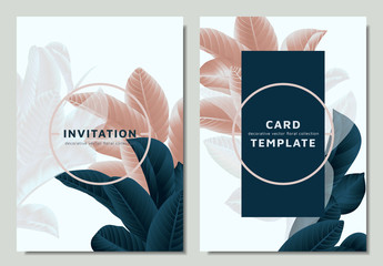 Hand drawn Tropical dark green,brown and white guava leaves on branch, invitation card template design