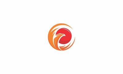 phoenix, bird, fire, fly, emblem symbol icon vector logo, sun