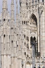 Gothic style statues of Doumo milan