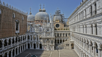 Outside looking of Doges palace in Venice Italy