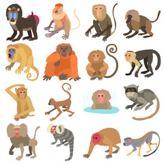 Monkeys types icons set, cartoon style