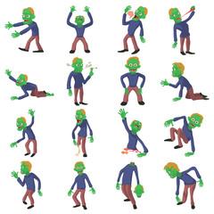Zombie poses icons set, cartoon style