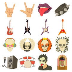 Rock music icons set, cartoon style