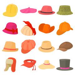 Hat types icons set headdress, cartoon style