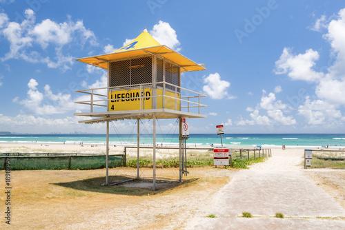 3b724ba88c6 Yellow lifeguard tower at Kirra Beach on the Gold Coast
