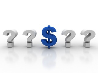 3d rendering Dollar symbol with question mark