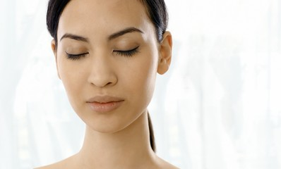 Closeup portrait of relaxing woman