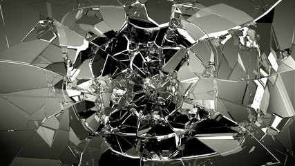 Pieces of splitted or cracked glass on white