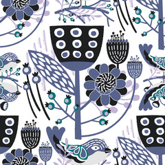 Seamless Vector Floral Pattern with purple & black shades of colors which can be used for your wallpapers, backgrounds, backdrop images, fabric patterns, clothing prints, labels, crafts & others