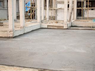 House building, concrete floor under construction