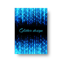 Rectangular invitation card template for a party with bright blue neon rays