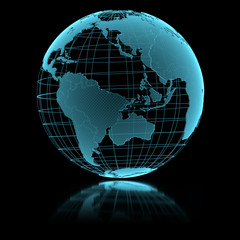 Blue shining transparent earth globe