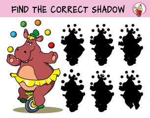 Funny circus hippo girl in a skirt on a unicycle juggling with balls. Find the correct shadow. Educational matching game for children. Cartoon vector illustration