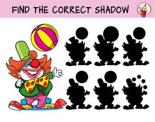 Circus clown artist with big ball. Find the correct shadow. Educational matching game for children. Cartoon vector illustration
