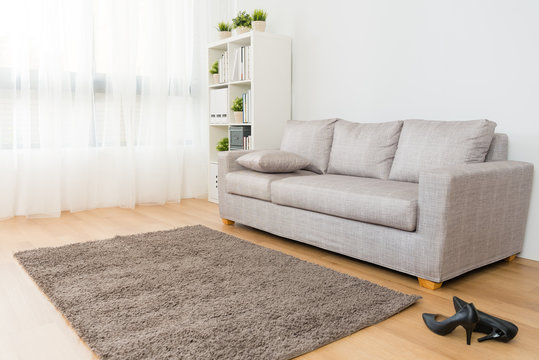comfortable living room with high heel shoes