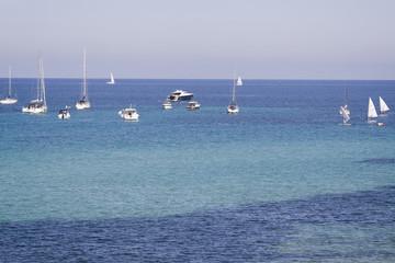 Seascape in Mondello city, Sicily, Italy