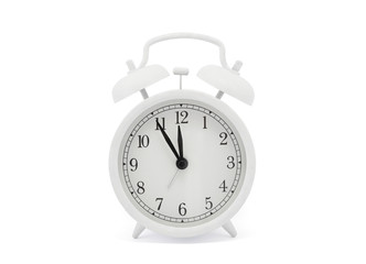 White old style alarm clock with clipping path