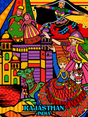Colorful culutral display of State Rajasthan in India