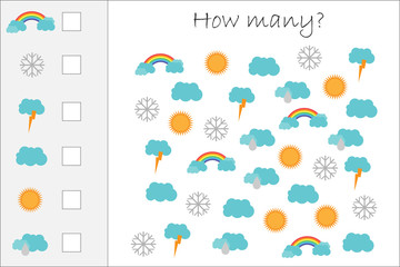 How many counting game with forecast pictures for kids, educational maths task for the development of logical thinking, preschool worksheet activity, count  and write the result, vector illustration