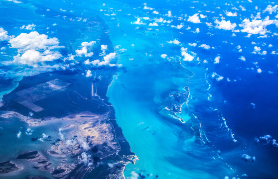 Atlantic Ocean. Bermuda Triangle - Bahamas, top view