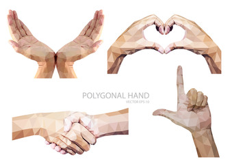 Set of polygonal hands gesture isolated on white background.vector