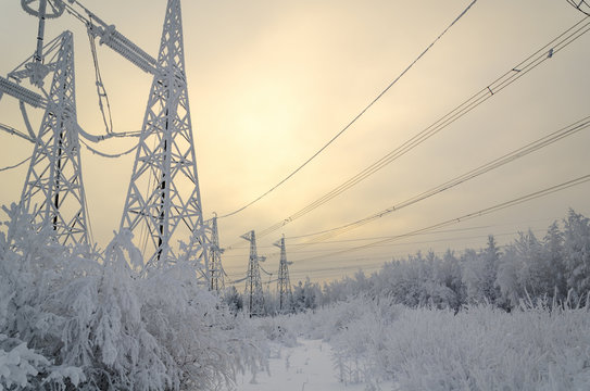 High voltage power lines in the winter.