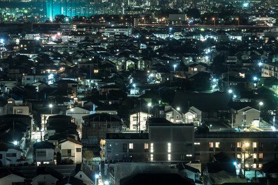 東京郊外の住宅地の夜景1