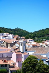 Elevated view of the village with the church to the centre, Monchique, Algarve, Portugal.