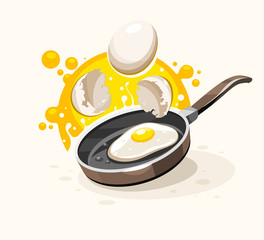 Eggs frying on the hot pan. Healthy english breakfast with egg