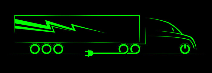 simple symbol of electric truck