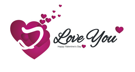 I Love You Happy Valentine Day with hearts logo