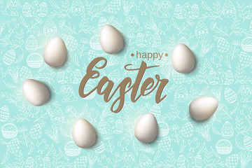 "Easter poster with eggs and hand made trendy lettering ""Happy Easter"" on blue pattern with paschal symbols in sketch style. Banner, flyer, brochure. Background for holidays, postcards, websites"