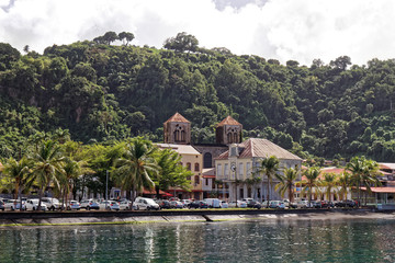 Saint-Pierre waterfront and church - Martinique - FWI