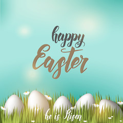 "Greeting Easter poster with eggs on the grass, hand made trendy lettering ""Happy Easter"" on blue sky background. Banner, flyer, brochure. For holidays, postcards,website"