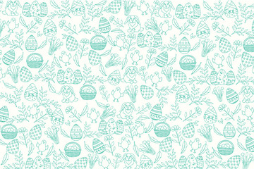 Easter pattern with paschal symbols in sketch style. Banner, flyer, brochure, advertising. Layout for holidays, postcards, websites