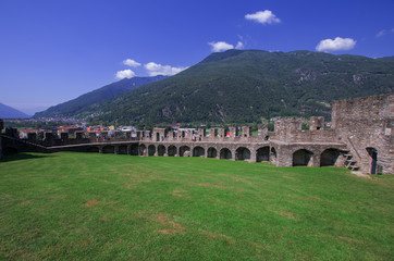 Bellinzona, Switzerland, the fortified walls of a medieval castle