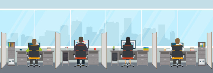 Modern office interior with employees. Office space with panoramic windows.