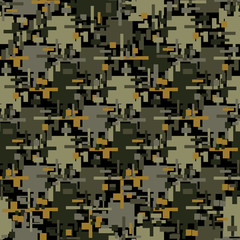 Abstract camouflage seamless pattern texture military repeats army green hunting clothes. Wallpaper for textile and fabric. Fashion style