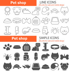 Veterinary shop simple and line icons set for web and mobile design