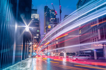 Light trails in the downtown district of London, Long exposure