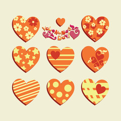 Valentine's Day. Festive set of hearts. Stickers, emblems. Templates decorated with geometric figures, hearts for Valentine's Day.